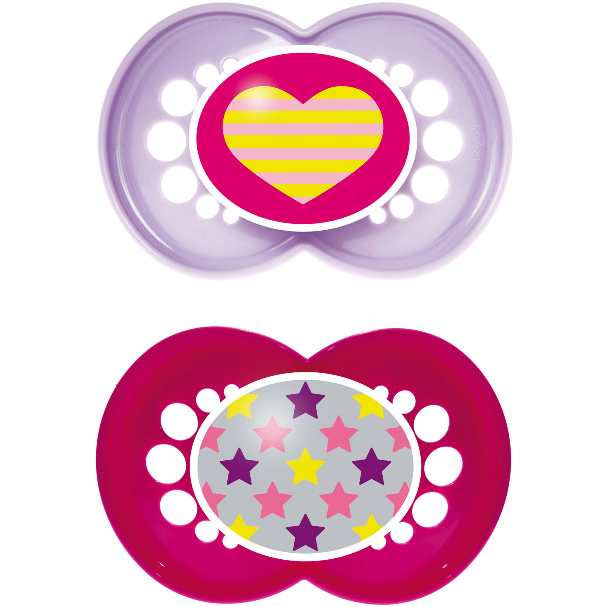 MAM Trends Orthodontic Pacifier, 6  Months, 2-Count, Girl