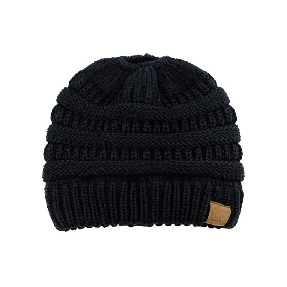 faa1708e764a80 C.C BeanieTail Soft Stretch Cable Knit Messy High Bun Ponytail Beanie Hat,  Black - Walmart.com