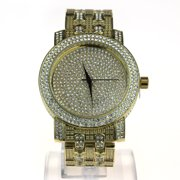 Mens Iced Out Bling Luxury Rhinestone Analog Round Wrist Watch Gold