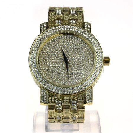 Rhinestone Watch (Mens Iced Out Bling Luxury Rhinestone Analog Round Wrist Watch Gold )