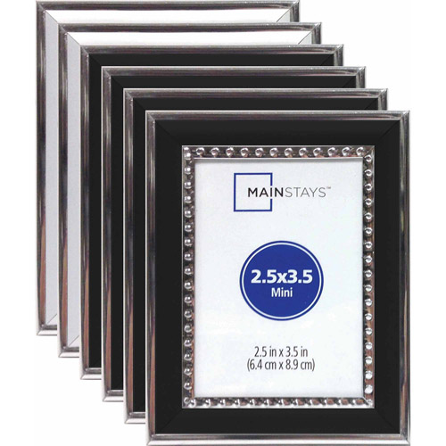 "2.5"" x 3.5"" Alicia Bead Mini Frame Assortment, Set of 6 (4 Silver and 2 Gold)"
