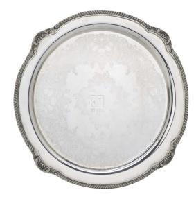 "15"" SILVER PLATED ROUND SHELL AND GADROON"