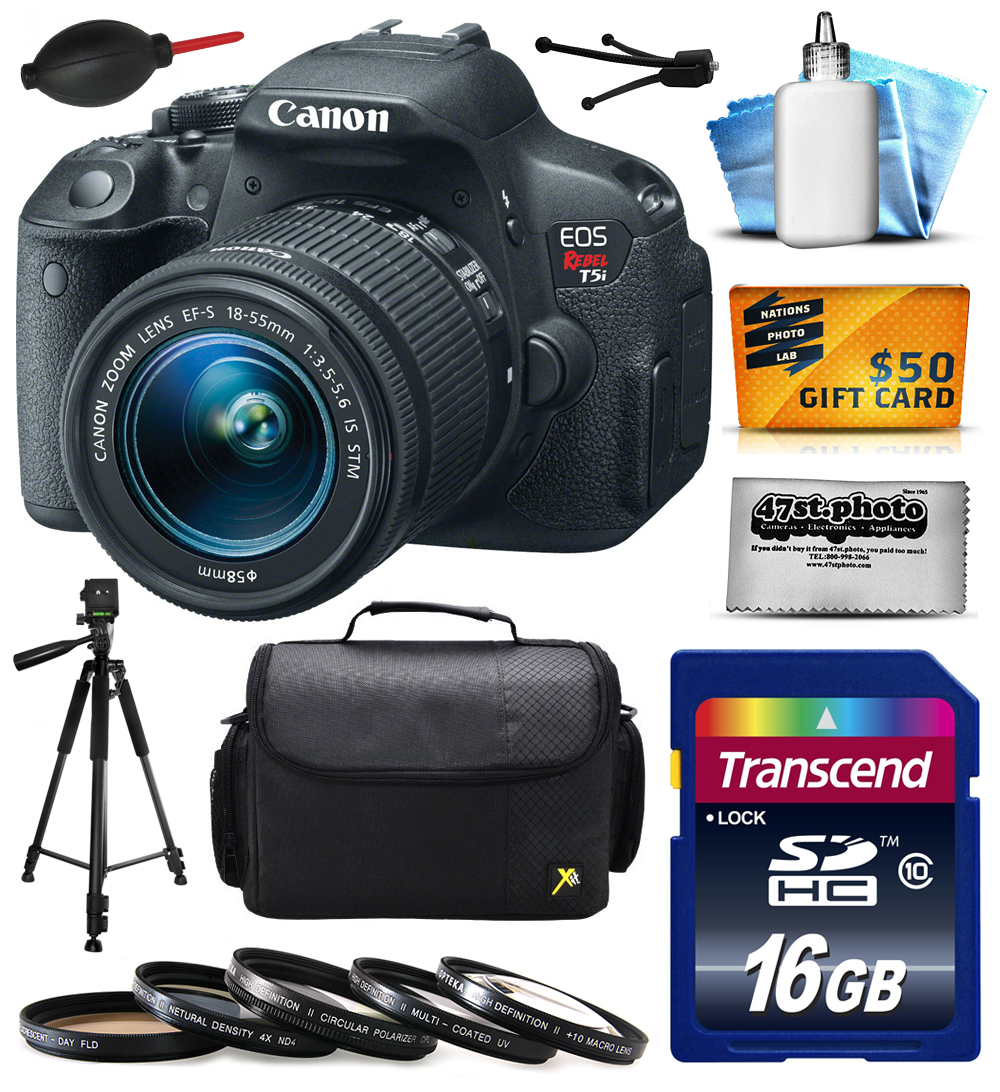 Canon EOS Rebel T5i Digital SLR with 18-55mm STM Lens includes 16GB Memory + Large Case + Tripod + 5 Piece UV-CPL-FL-ND4-10x Filters + Dust Blower + Cleaning Kit + $50 Gift Card 8595B003