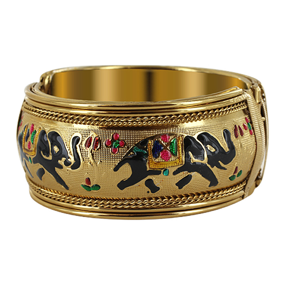 Gem Avenue 1.2 inch 2.4 inside 2.9 inch outside Diameters Elephant Design Gold Tone Fashion Cuff Bracelet
