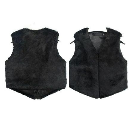New Fashion Top Women Faux Fur Waistcoat Jacket Coat Sleeveless Casual Solid Outwear Fashion Vest Black M