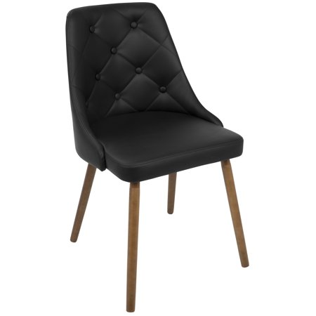 Outstanding Giovanni Mid Century Modern Dining Chair In Walnut And Black Quilted Pu By Lumisource Creativecarmelina Interior Chair Design Creativecarmelinacom