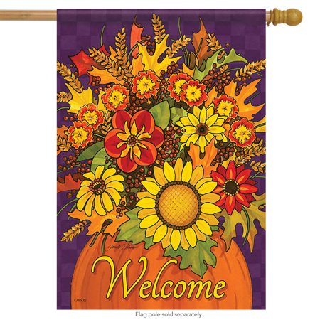 Fall for Flowers House Flag Double Sided Decorative Banner 28