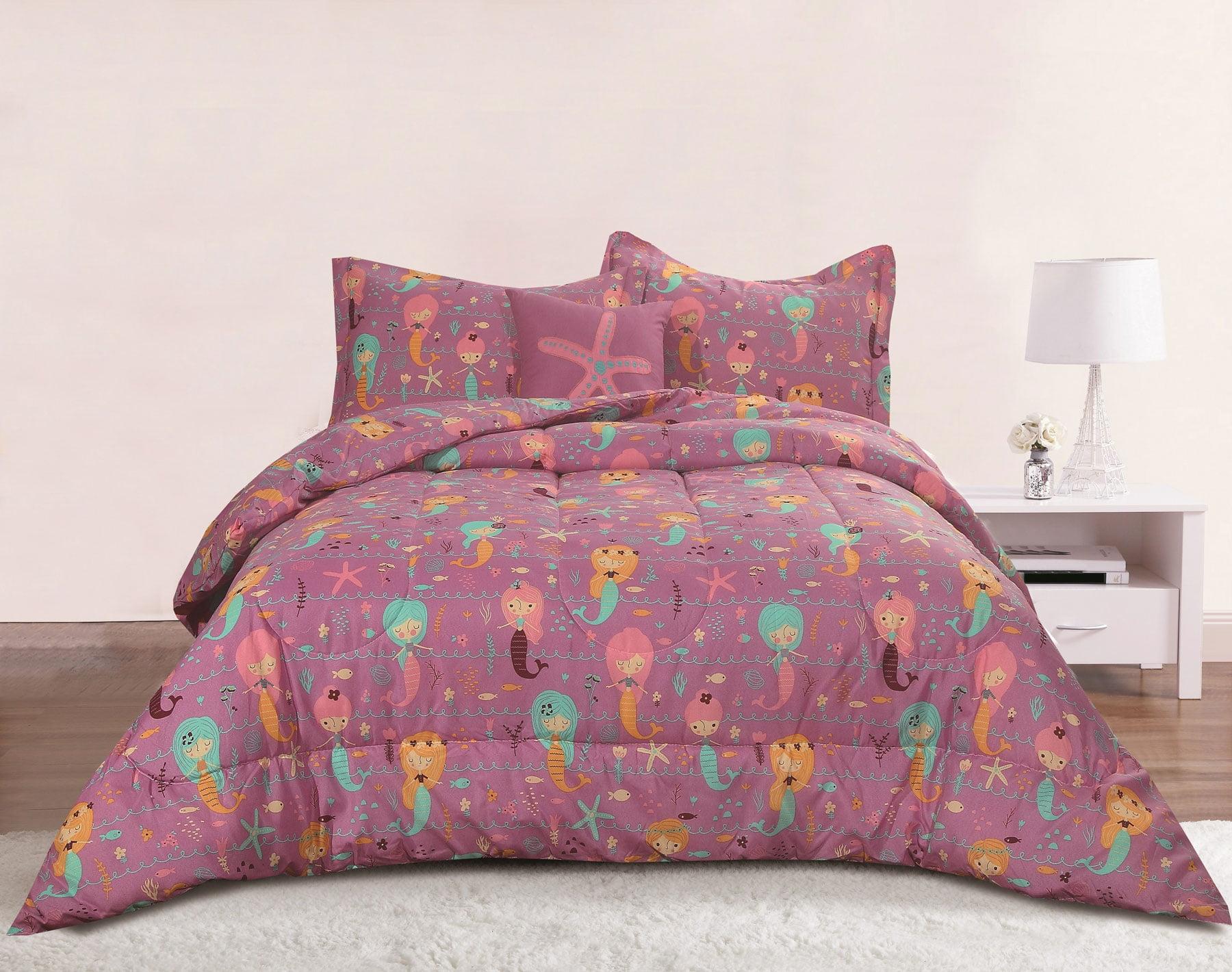 8ec97b06821b0a Mermaid Girls Bedding Twin 3 Piece Comforter Bed Set, Purple Pink ...