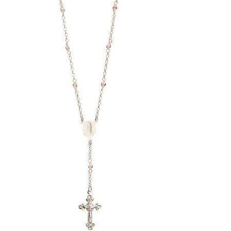 Swarovski Pink Crystal Sterling Silver Rosary Necklace