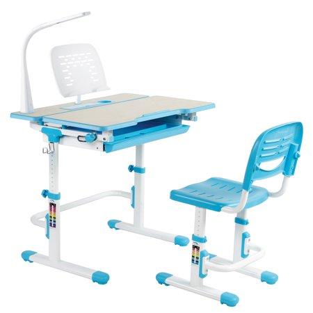 VIVO Deluxe Height Adjustable Childrens Desk & Chair Kids Interactive Work Station Blue (DESK-V402B)