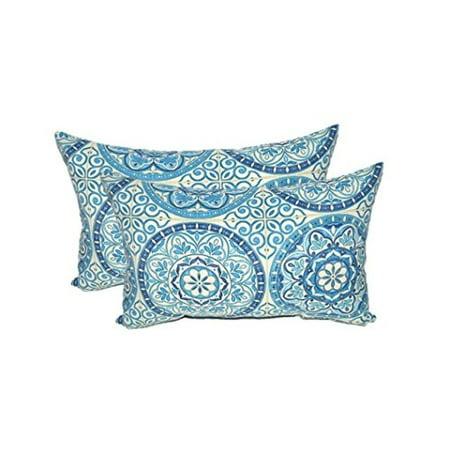 Set of 2 Rectangle Pillows Wheel Indigo, Blue, Ivory Large Sundial - 11