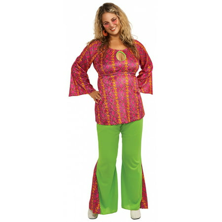 Hippie 60's70's Groovy Girl Flower Power Peace Costume Adult (Flower Power 60's Hippie Costume)