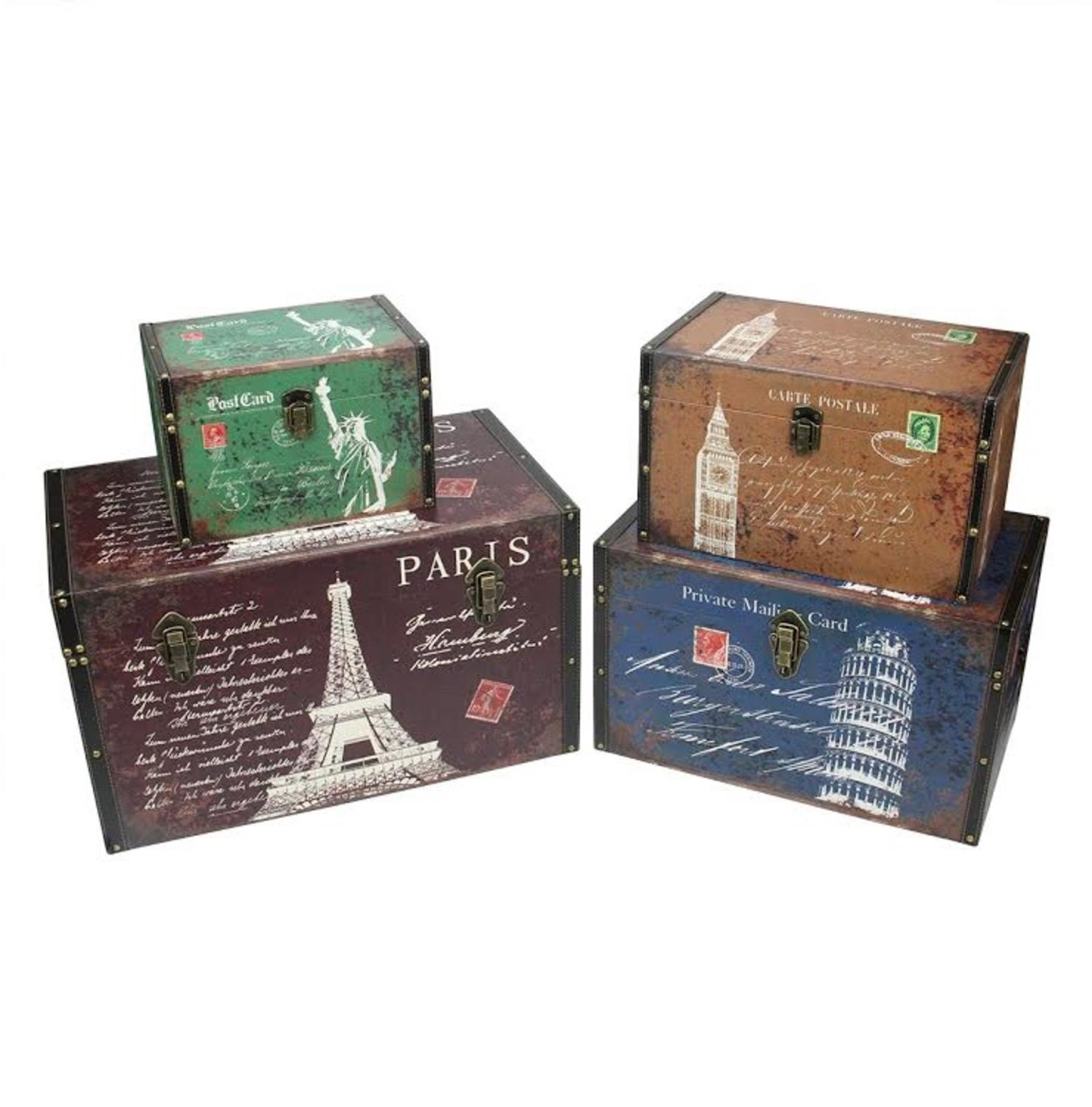 set of 4 vintage style travel themed decorative wooden storage boxes 235 - Decorative Wooden Boxes