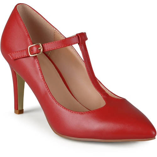 Brinley Co. Womens Classic T-strap Pointed Toe Mary Jane Dress Pumps
