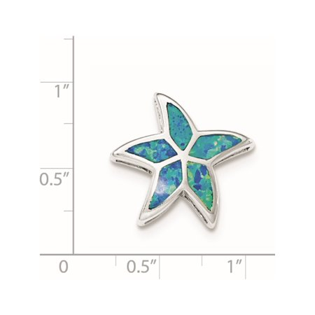 925 Sterling Silver Rhodium Created Blue Opal Starfish Slide - image 1 of 2