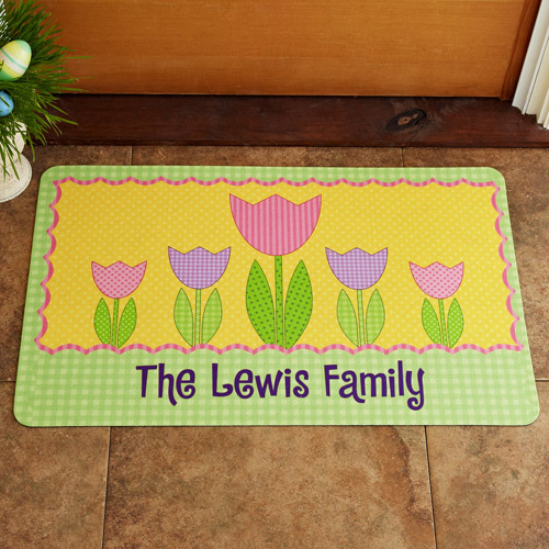 Personalized Cheerful Tulips Doormat