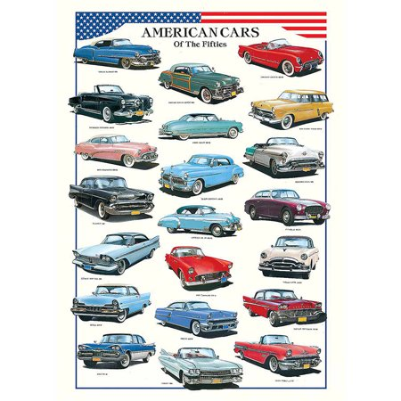American Cars of the Fifties Educational Chart - Fifties Theme