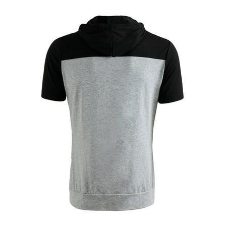 96e7db233 Unique Bargains Men's Contrast Color Zip Hoodie Black Gray (Size M / 38) ...