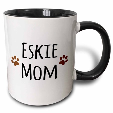 3dRose Eskie Mom - American Eskimo Dog breed pet owner - brown paw prints - doggie daddy doggy love- lovers - Two Tone Black Mug, 15-ounce