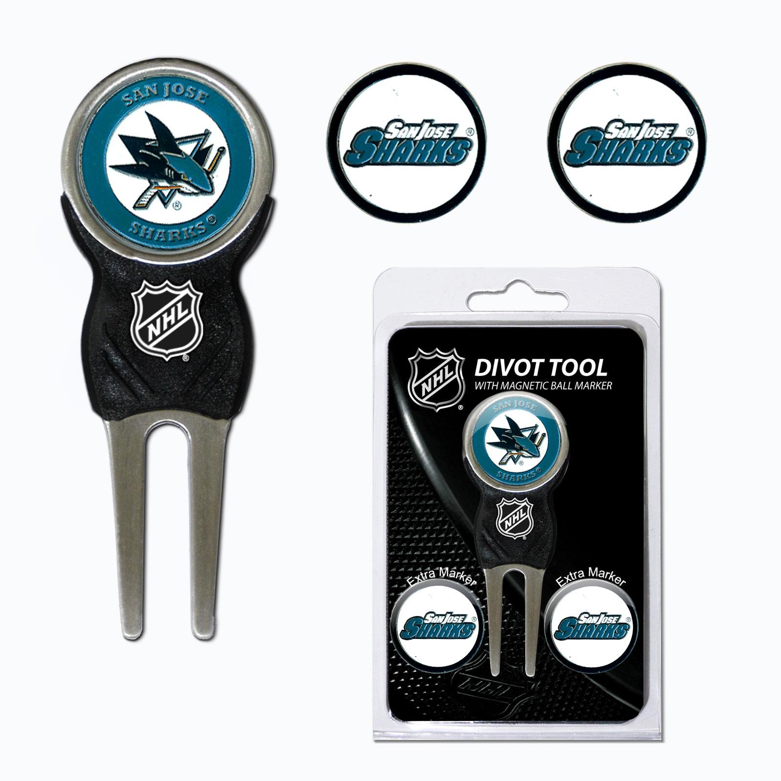 Team Golf NHL San Jose Sharks Divot Tool Pack With 3 Golf Ball Markers
