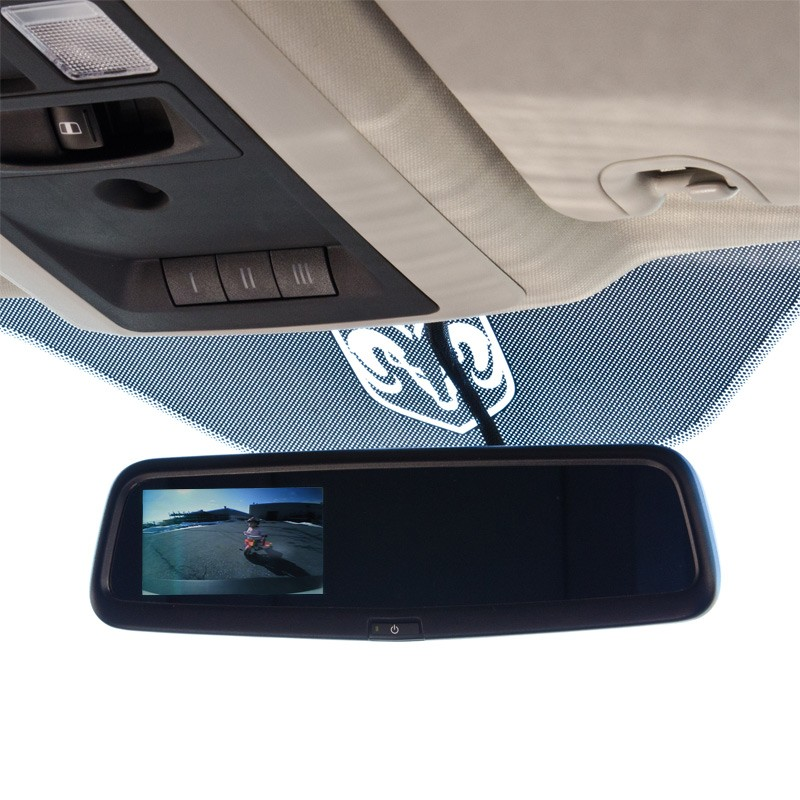 "Brandmotion Slimline OEM Auto Dimming Mirror with 3.5"" Color Display"
