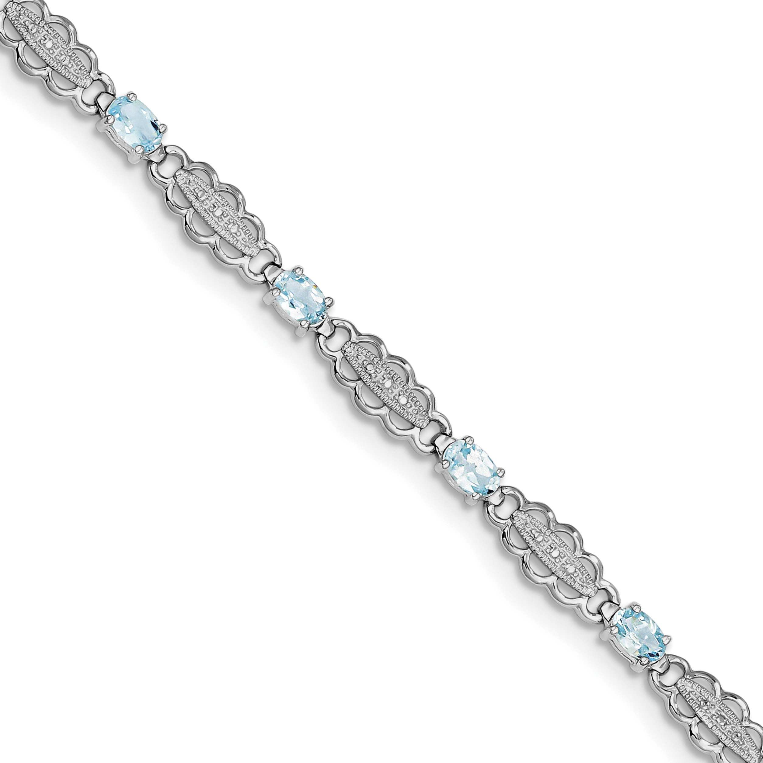 925 Sterling Silver Rhodium-plated Aquamarine & Diamond Bracelet by