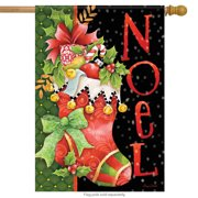 "Noel Stocking Christmas House Flag Poinsettia Holiday Candy Cane 28"" x 40"""