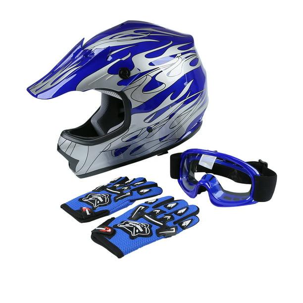 XFMT Youth Kids Motocross Offroad Street Dirt Bike Helmet Goggles Gloves Atv Mx Helmet Pink Butterfly XL, Blue Flame