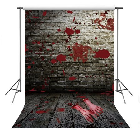GreenDecor Polyster Halloween Background 5x7ft Bloody Wall Broken Hands Photography Backdrop Photo Props](Bloody Halloween Backgrounds)