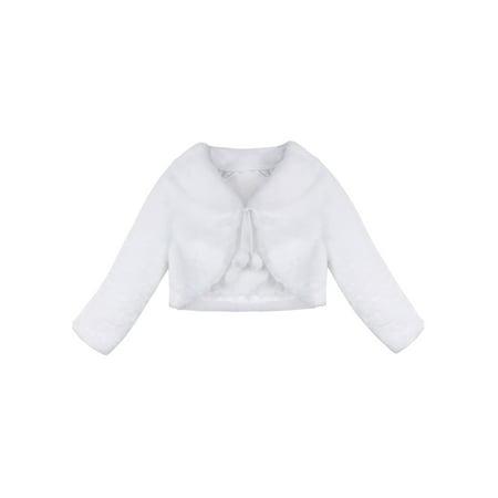 Girls Faux Fur Long Sleeve Coat Wedding Birthday Dress Cardigan Wrap Jacket Girls Faux Suede Jacket