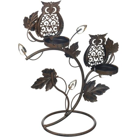Low Double Tom Stand - 1 X Adorable Double Wise Owl Owls on Branch Metal Votive Candle holder Candle Stand, 9� x 5 x 11� high By Tom Co