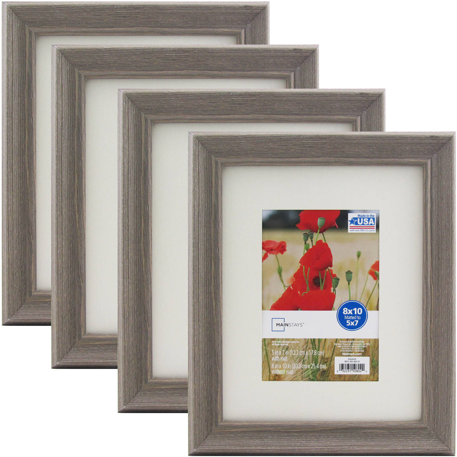 mainstays graywash frame set of 4 multiple sizes available walmartcom