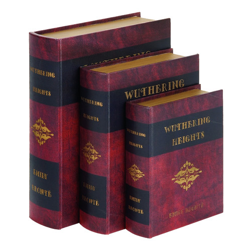 Woodland Imports 'Wuthering Heights' 3 Piece Leather Book Box Set