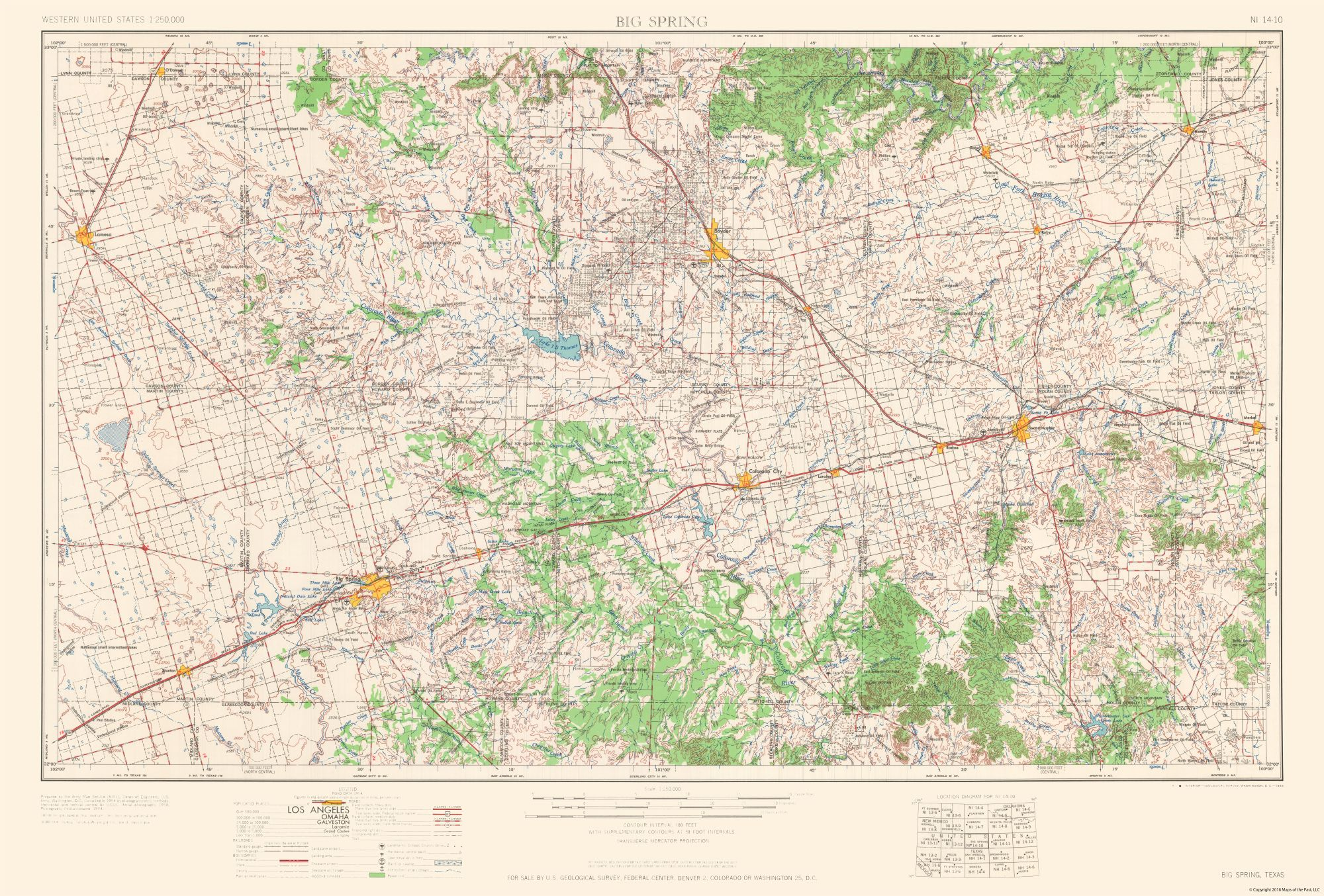 Topographic Map Big Spring Howard County Texas Quad Usgs 1954