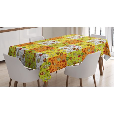 Ladybugs Tablecloth, Cartoon Style Flowers and Beetles Squares Nature Ornamental Summer Season Inspired, Rectangular Table Cover for Dining Room Kitchen, 52 X 70 Inches, Multicolor, by Ambesonne