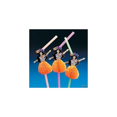 Tissue Hula Girl Straws - Party Supplies - 12 Pieces Hula Girl Party Supplies