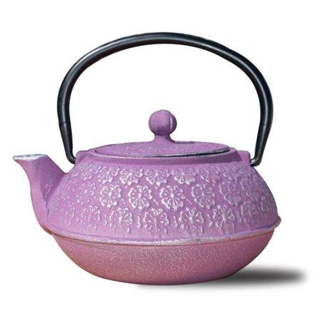 22 oz Cherry Blossom Teapot - Plum, Cast Iron