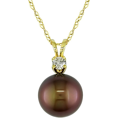 1/10 Carat T.w. Diamond And 9-10mm Brown