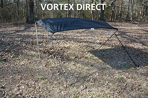 """BLACK (ACRYLIC) VORTEX STAINLESS STEEL FRAME 4 BOW PONTOON DECK BOAT BIMINI TOP 8' LONG, 91-96"""" WIDE (FAST SHIPPING... by VORTEX DIRECT"""