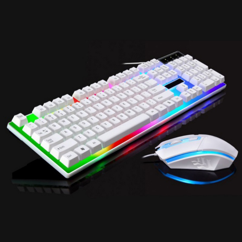 Rainbow Backlight Keyboard and Mouse Set USB Ergonomic Gaming Keyboard and Mouse Set for PC Laptop White