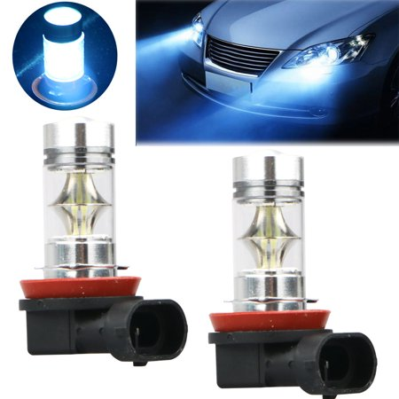 2 Pack Lighting Extremely Bright High Power 100W Ice Blue LED Lights Bulbs for Daytime Running Front Lights (DRL) Fog Lamps Replacement