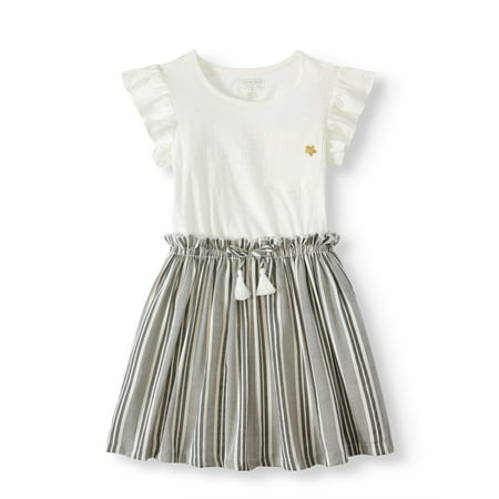 Pocket Tee and Yarn Dye Striped Dress (Little Girls & Big Girls) - Toms And Dresses