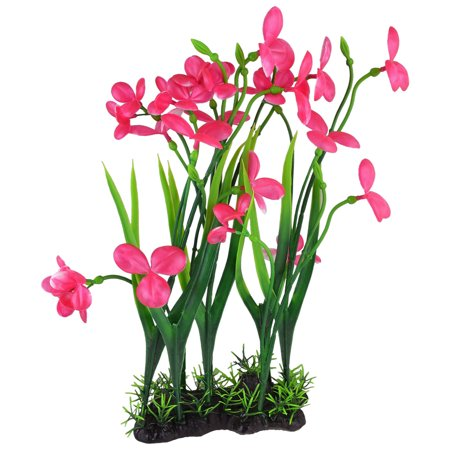 Green Magenta Simulated Aquatic Flower Plant Accent 15