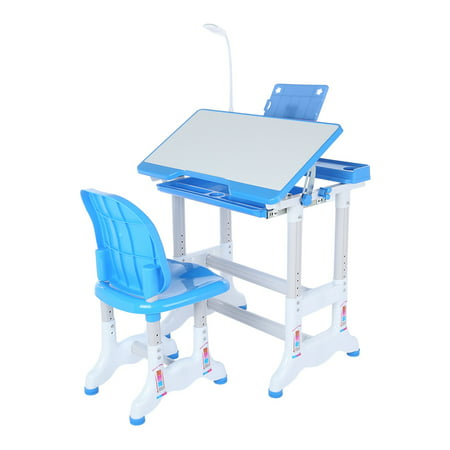 Oxodoi Kids Desk with Lamp Children Writing Student Desk Drafting Table Height Adjustable Study Table and Chair with Drawers Storage, Blue
