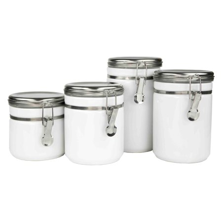 Home Basics 4 Piece Canister Set with Stainless Steel Tops (4 Piece Kitchen Cannister Set)
