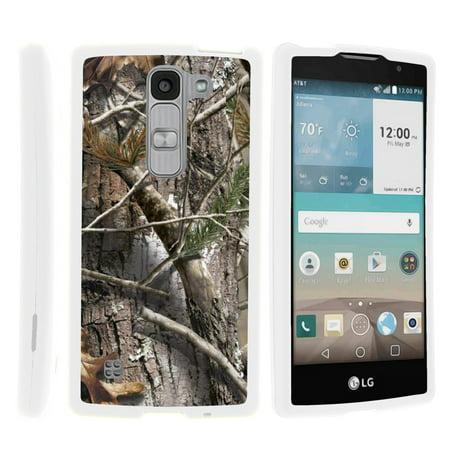 LG Escape 2 H443, LG Spirit LTE, [SNAP SHELL][White] Hard White Plastic Case with Non Slip Matte Coating with Custom Designs - Tree Bark Hunter Camouflage - Custom School Spirit Items