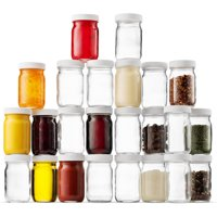 High Quality Small Glass Mason Jars 4 Ounce Mini Jars 24-Pack , Plastic Airtight Lid, For Jam, Jelly, Dressings, baby food, Crafts, Spices, Dry Food Storage, Wedding favors, Decorating Jar
