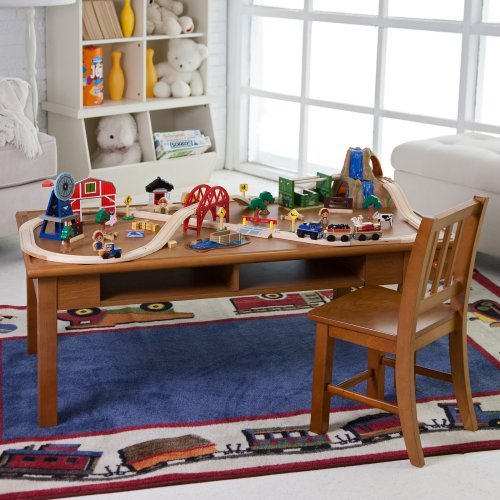 Classic Playtime Pecan Deluxe Train Table