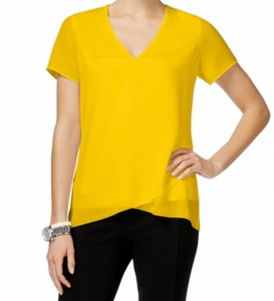 Michael Kors NEW Yellow Women's Size Large L V-Neck High ...