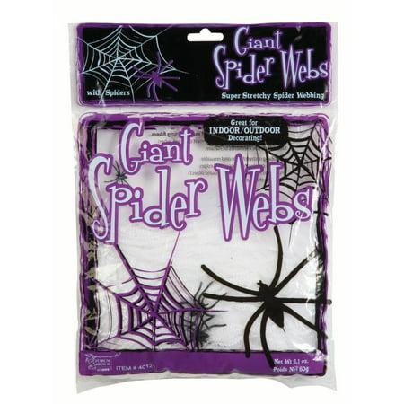 Halloween Spider Webs Giant White 2oz w/4 Spiders (1/Pkg) Pkg/3